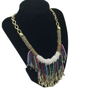 Chico's Beaded Tassel Charm Statement Necklace